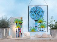 Glasmalerei Porzellanmalerei Fensterbild, Vase, Tischleuchte