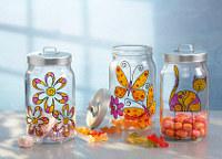 Glasmalerei Katze, Schmetterling und Blume
