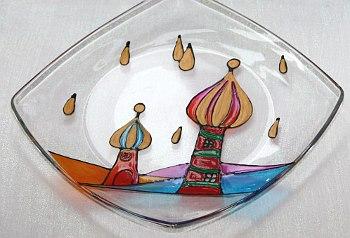Glasschale mit Glasmalerei